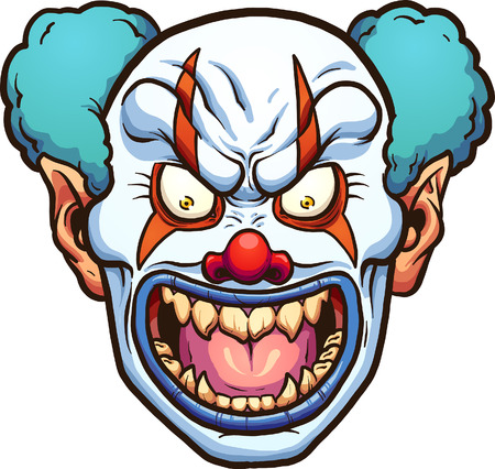 Evil cartoon clown head.