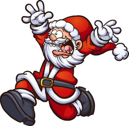 Illustration for Santa Claus running scared with arms up. Vector clip art illustration with simple gradients. All in a single layer. - Royalty Free Image