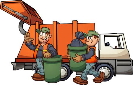 Ilustración de Cartoon garbage men with truck, picking up trash. Vector clip art illustration with simple gradients. Some elements on separate layers. - Imagen libre de derechos