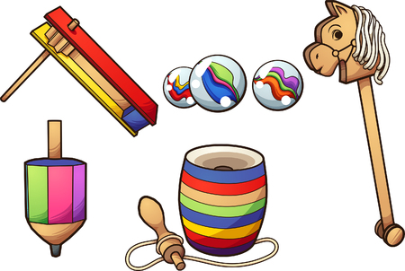 Illustration pour Cartoon typical Mexican toys. Vector clip art illustration with simple gradients. Each on a separate layer. - image libre de droit