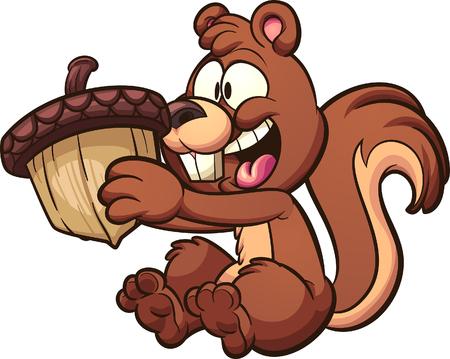 Illustration pour Happy squirrel holding a big acorn.   clip art illustration with simple gradients. Some elements on separate layers. - image libre de droit
