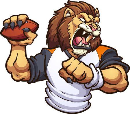 Illustration pour Strong lion mascot roaring and throwing a football clip art. - image libre de droit