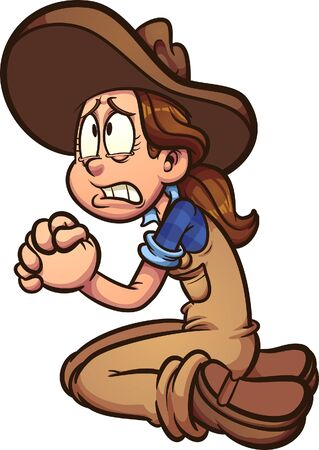 Illustration for Cartoon farmer girl begging or praying clip art. Vector illustration with simple gradients. All in a single layer. - Royalty Free Image
