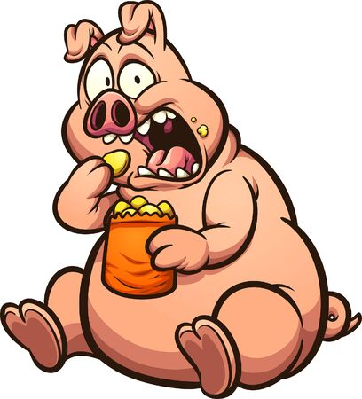 Illustration for Fat pig eating chips with a surprised look on its face cartoon. Vector clip art illustration with simple gradients. All on a single layer.  - Royalty Free Image