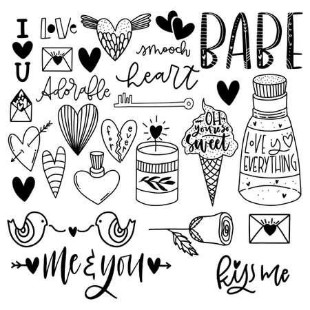 Illustration for Cute Valentine's day lettering composition. Lovely and simple design. - Royalty Free Image