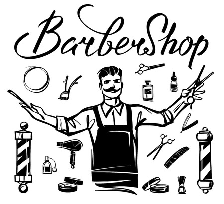 Set of barbershop accessories and tools hand drawn illustration.