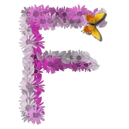 alphabetical letter pink color forms daisy, letter F