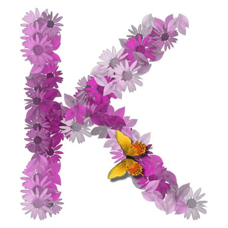 alphabetical letter pink color forms daisy, letter K