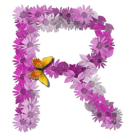 alphabetical letter pink color forms daisy, letter R