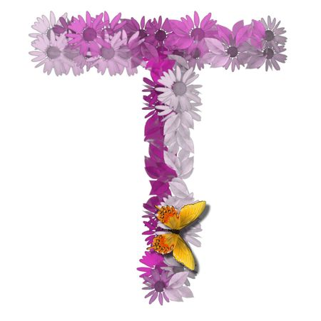 alphabetical letter pink color forms daisy, letter T