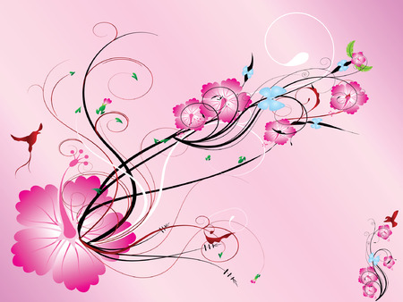 Pink color floral,  illustration