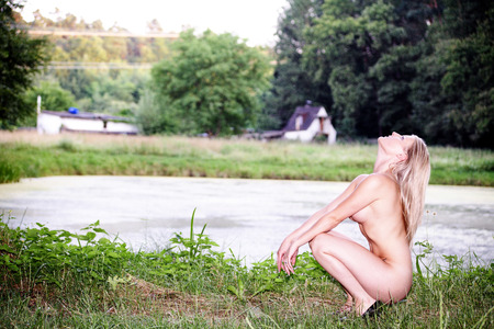 naked women in forest relax