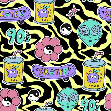 Bright seamless pattern 80s 90s style: Royalty-free vector