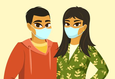 Illustration for Asian man and woman wearing surgical mask - Royalty Free Image