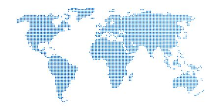 Illustration for Abstract computer graphic World map of blue round dots. Vector illustration. - Royalty Free Image
