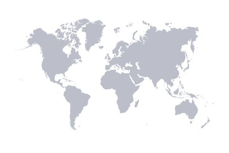 Illustration pour World map vector, isolated on white background. Flat Earth, gray map template for web site pattern, anual report, inphographics. Globe similar worldmap icon. Travel worldwide, map silhouette backdrop. - image libre de droit