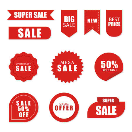Illustration pour Set of sale tags and labels, template shopping labels. Blank, discount and price tags on paper. Special offer. Vintage. - image libre de droit