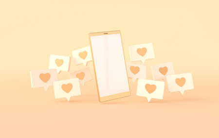 Photo pour Like heart icon on a pin and smartphone 3d rendering. Social media notification. Social network symbol background. I like it! - image libre de droit