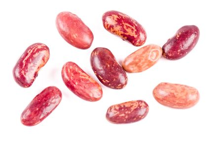 Red haricot beans on the white background
