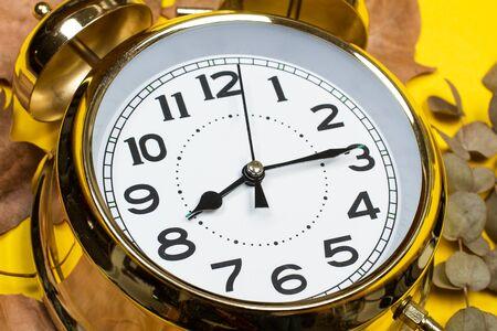 Foto de Alarm clock and dry leaves on a yellow background - Imagen libre de derechos