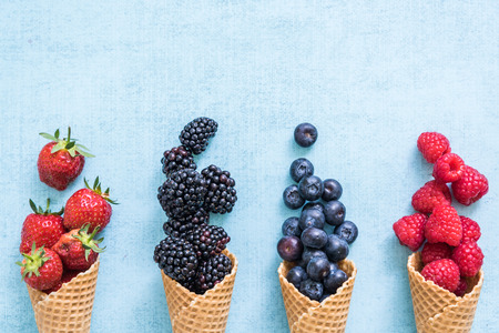Foto de waffle with fresh berries, homemade ice cream making - Imagen libre de derechos