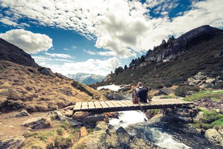 Adorra mountains, hikker and dog.