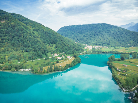 Aerial drone view over Most na Soci lake,Slovenia.