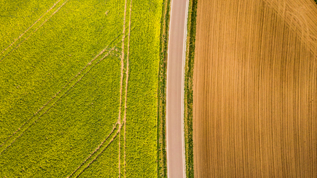 Photo for Abstract pattern in farmland fields at spring, aerial  view, drone photo. - Royalty Free Image