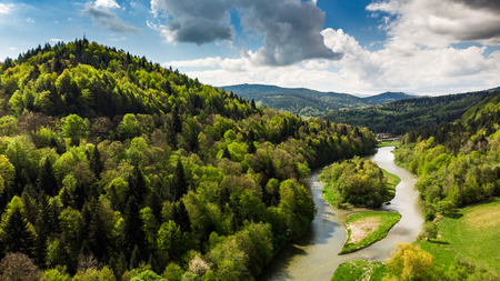 Photo for Amazing summer day landscape at Poprad river in Zegiestow,Poland. - Royalty Free Image