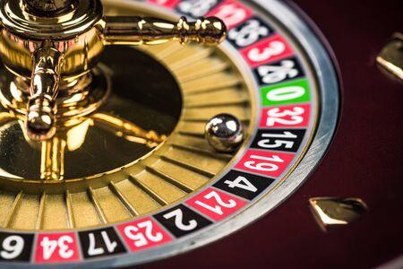 Foto de Close Up View on Roulette Drum with Lucky Numbers, Casino Theme. - Imagen libre de derechos
