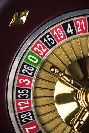Photo pour Close Up View on Roulette Drum with Lucky Numbers, Casino Theme. - image libre de droit
