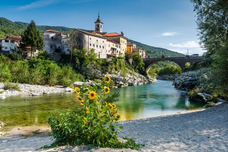 Colorful Town Kanal Ob Soci in Slovenia. Small Village at The Soca River.