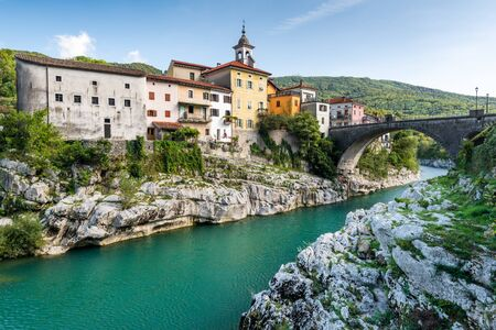 Colorful Architecture of Kanal Ob Soci Town in Slovenia at River Soca.