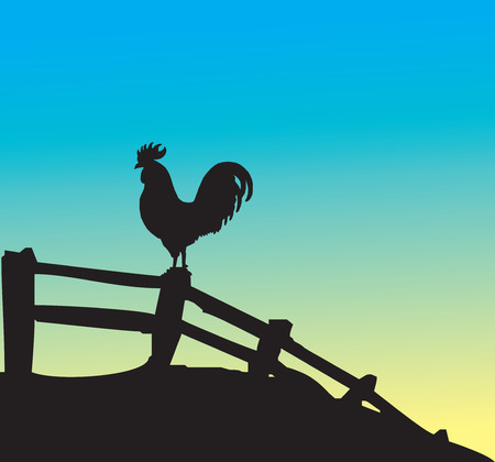 Rooster silhouette on fence. Vector illustration