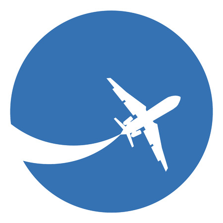 Silhouette of a aeroplane on a blue background.