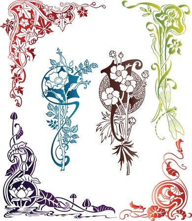 Illustration for Floral Design Elements 1-2 - Royalty Free Image