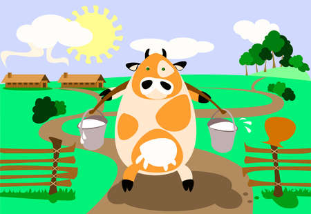 illustration: milk-cow is bringing two heavy pail full of milk.