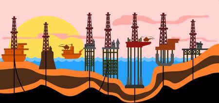 Vector illustration: defferent types of sea oil-production derrics.