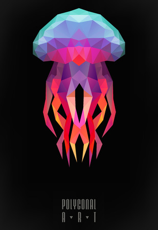 Illustration pour Abstract polygonal jellyfish. low poly illustration. Creative poster - image libre de droit