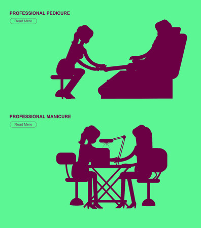 Detailed Manicurist silhouette character makes a professional manicure and pedicure woman. Template for beauty saloon