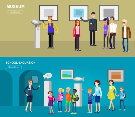 Illustration pour Funny character people in museum. Archeological museum of antiquity and natural science exposition for children, guided tour, exhibition space, audioguide, flat banners set - image libre de droit