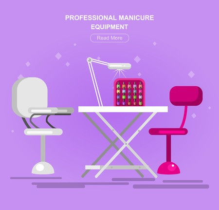 Professional equipment for beauty salon, table for the pedicure. Detailed  interior, vector  illustration