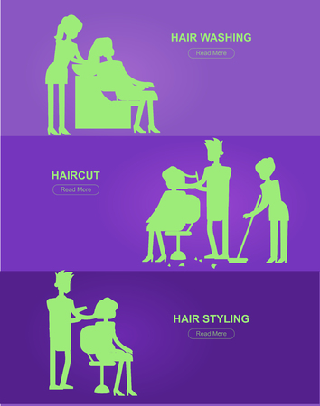 silhouette character Barber makes a hair washing, cut and styling for glamorous girl or woman. Web banner template  for beauty saloon