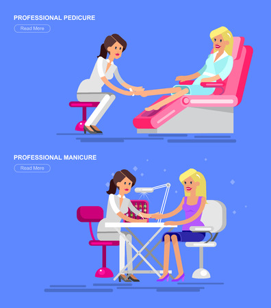 Detailed Manicurist character makes a professional manicure and pedicure beautiful blond woman. Web banner template  for beauty saloon