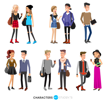 Illustration pour Detailed character students, student Lifestyle, couple of young people in street clothes style. Illustration of character student. Vector flat student go to study - image libre de droit