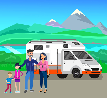Character happy family go on Road trip. Vector detailed mobile home. Road trip poster. Travel car vector and summer vector background landscape with herbs and sky