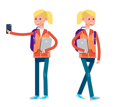 Vector detailed character flat design child students. Kids smiling holding Gadgets and backpacks. Primary or elementary school child character. Vector child character. Illustration character child