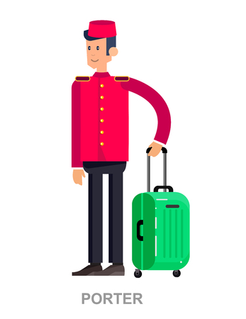 Illustration pour Vector detailed character professional. Cute cartoon indoor hotel porter, bellboy, bellman, bellhop, doorman, doorkeeper, isolated on a white background - image libre de droit