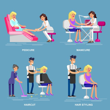 Detailed Manicurist character makes a professional manicure and pedicure beautiful blond woman. Barber makes a hair cut and styling for girl. Web banner template  for beauty saloon