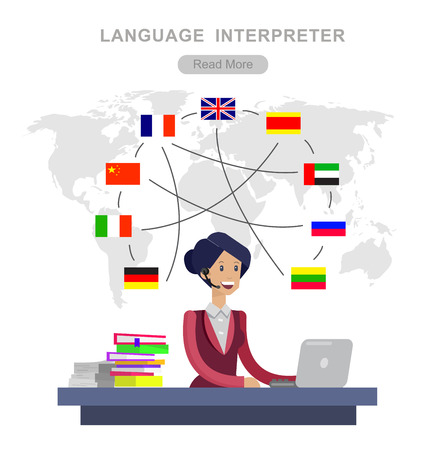 Illustration pour Vector detailed character Language translator concept with Language translator woman and world map with flags of world languages, Language translator  illustration. Vector Language translator - image libre de droit